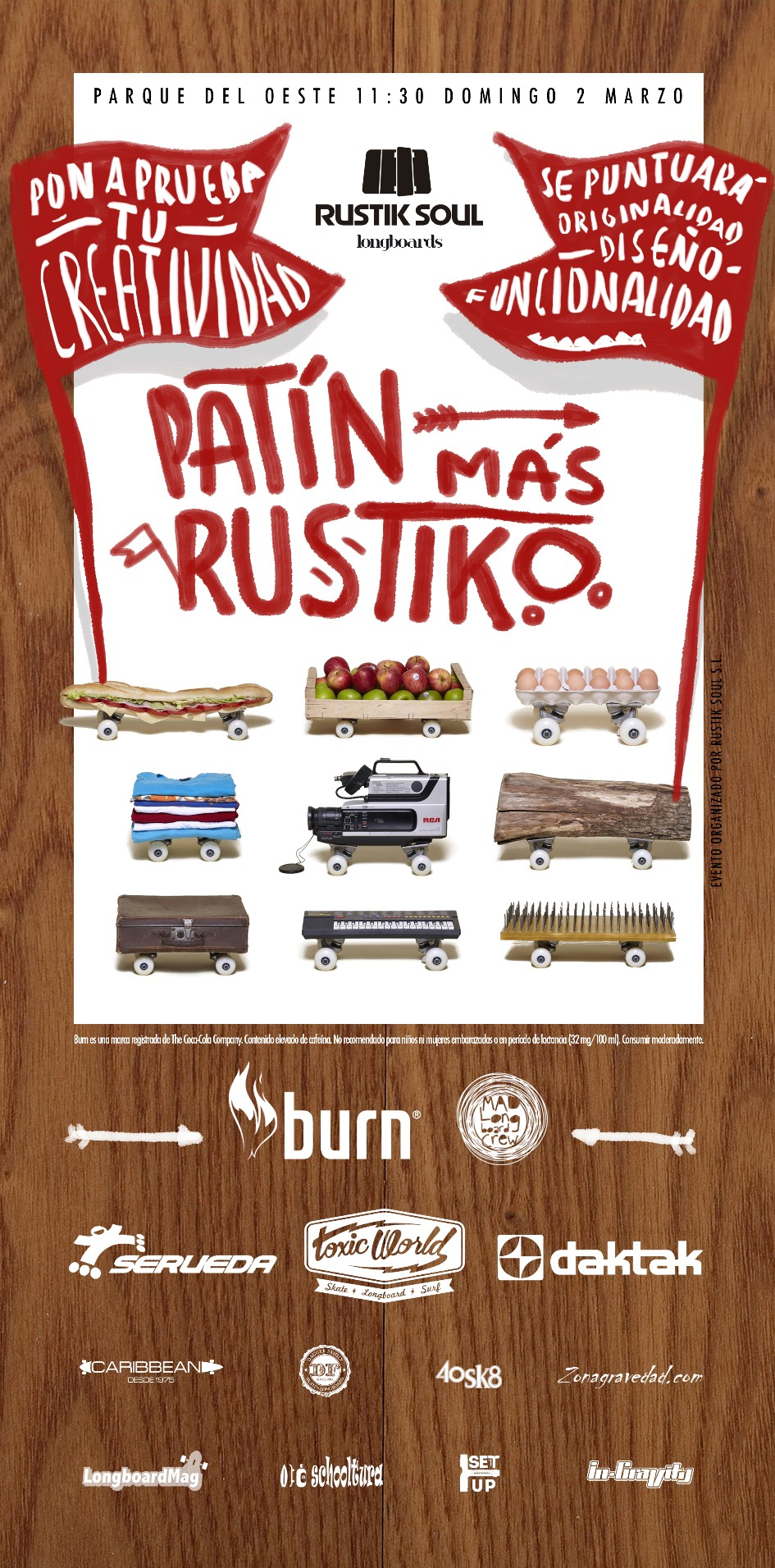 Cartel evento Patin mas Rustiko